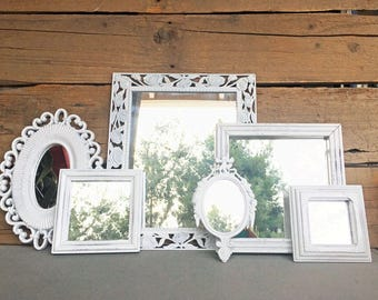 Farmhouse Cottage Chic Ornate White Mirror Set of 6 - Upcycled framed True White Ornate mirrors.. great for Gallery Wall or Bedroom