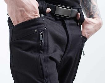 Crisiswear Division MKI - Custom Cyberpunk Men's Black Cargo Pants - Multiple Pockets - Tough Handmade Quality - Futuristic Style - Clean