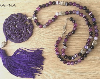 MATSU/piedras semi-precious necklace/Purple agate/Oriental jade Medallion and purple tassel/elegant chic casual Boho