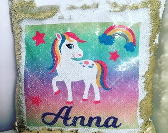 Mermaid sequin reversible pony cushion personalised with name, glitter pony cushion, colour changing cushion, reversible cushion