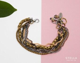 Bracelet chaine laiton et inox, bracelet ajustable 8 rangs, bijou or et argent, bijou fait au Québec, bracelet chunky, longueur sur mesure