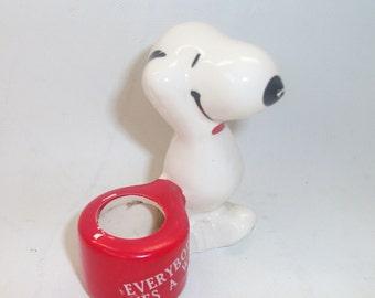 Vintage Ceramic Snoopy Ornament Everybody Loves a Winner 1966