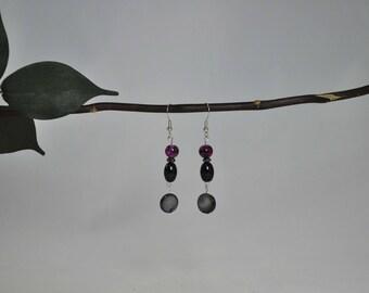 Mother-of-pearl earrings, Black earrings, Cranberry earrings, Silver earrings, Dangling earrings, Silver jewelry