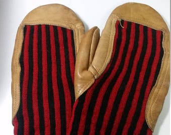 Vintage Leather & Knit Mittens