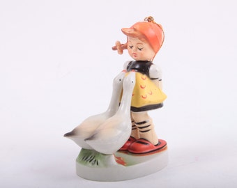 Hummel, Ornament, Figurine, Girl with Two Geese, Plastic, Vintage, 1970s, 70s ~ The Pink Room ~ 170107