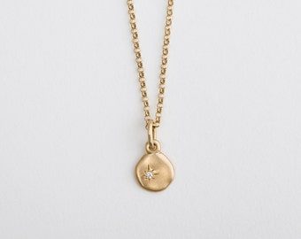 Diamond 14k Yellow Gold pendant, Little Diamond Charm Disk Necklace, Solid Gold Tiny Diamond Pendant, Nugget Wedding