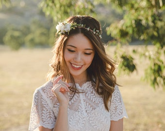 blossom and forest asymmetrical bridal wedding flower crown // Florette IVORY / bohemian floral headpiece flower crown / rustic flower crown
