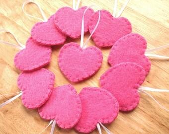 10 fuchsia pink wedding heart ornaments, girl baby shower favors, felt wedding decor, valentine's day heart decorations, hot pink felt heart