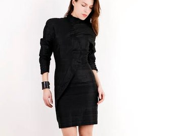 Vintage Black Dress / Avant Garde Dress / Goth Dress / Little Black Dress / Black Mini Dress / Open Back Dress / Small Dress / 80s Dress