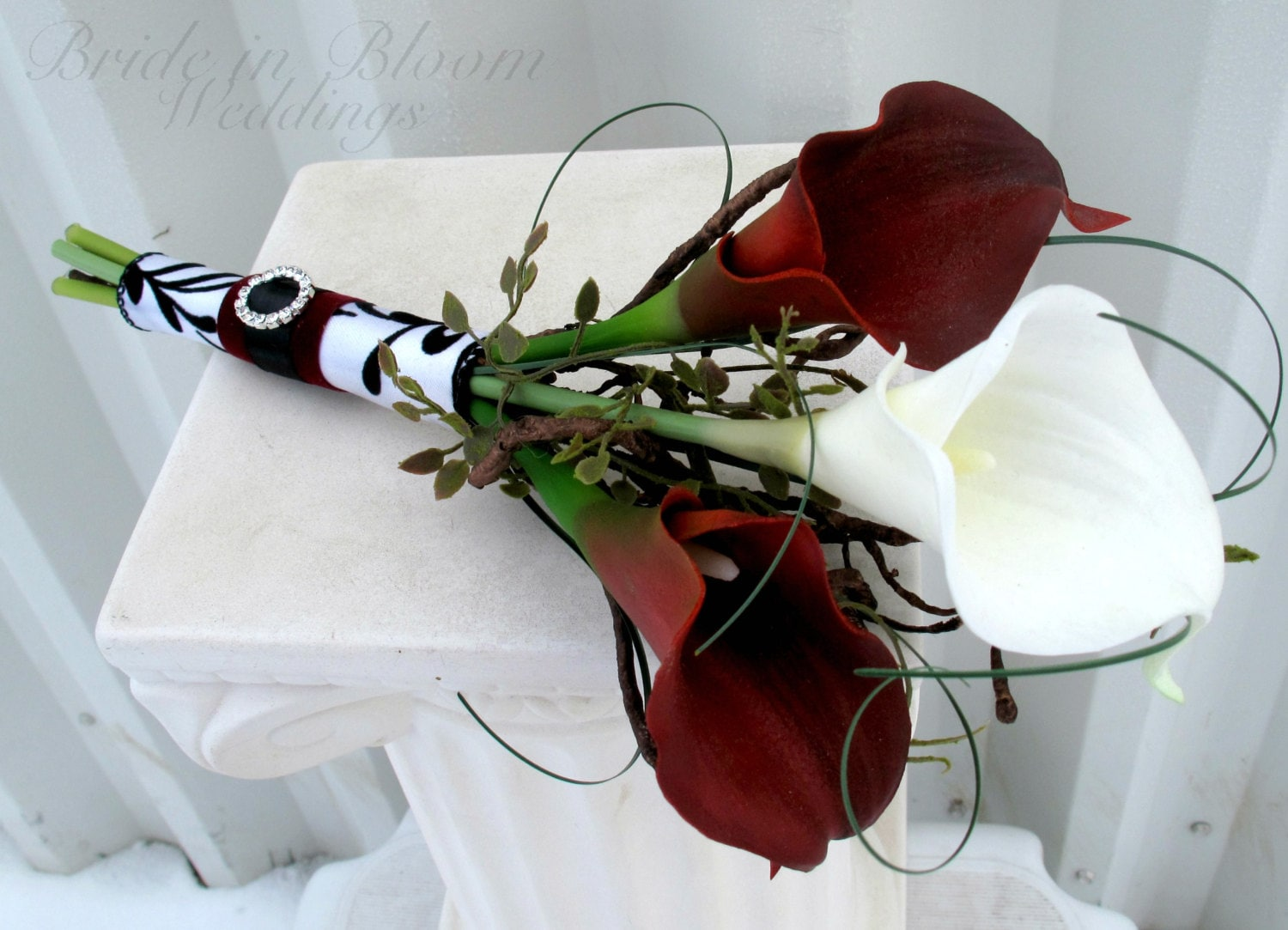 Bridal bouquet real touch red white calla lily bridesmaid zoom izmirmasajfo