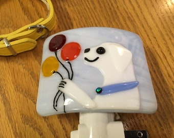 Fused glass white dog nightlight