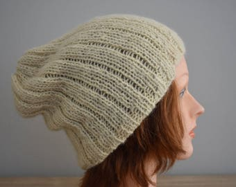 Natural RIAF Soft Warm Hand Crafted Alpaca Slouchy Beanie Hat, Light Yellow Green (Garden Green)