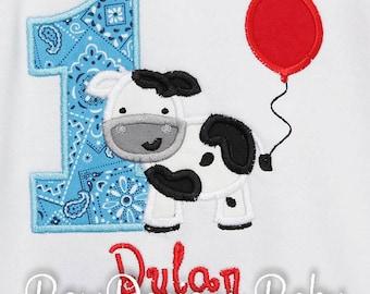 Cow Birthday Shirt, Farm Birthday Shirt, Custom Farm Birthday Shirt, Boy, Girls, Shirt, Bodysuit, Romper, Custom Colors, You Pick Fabrics
