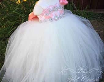 Flower Girl Dress - Lace Dress - Big Bow Dress -Wedding Dres- Girls Lace Dress - The Carissa Dress