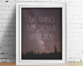 Love Quotes Wall Art Bedroom Decor Couples Love Print Inspirational Dreams Quote Night Sky Milky Way Galaxy Mountain Art