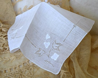 Simply Lovely White 1950's Vintage Handkerchief Open Work Applique Design Women's Hankie Accessory Wedding Bridal Borrowed Sewing