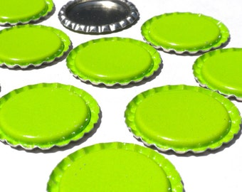 Green Flattened Bottlecaps - New  for Magnets Jewelry Keychains Scrapbooking  Embellishments - Set of 10 Lime