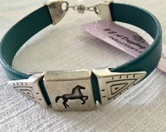 Deep Teal Horse Lover Bracelet