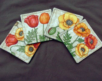 Floral Motif Coasters Quilted Coasters Flower Coasters Floral Theme Handmade Coaster Drink Coasters Fabric Coasters Table Linens