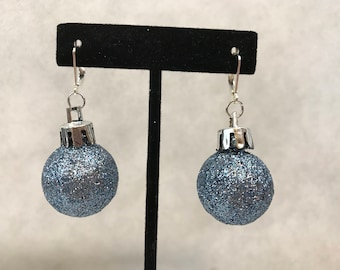 Blue Glitter Christmas Ornament Dangle Pierced Earrings