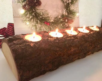 Rustic pine log candle holder