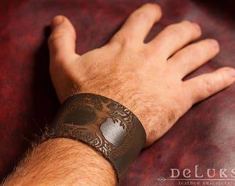 Celtic Leather Bracelet , Viking Bracelet , Men's Leather Wristband , Norse Leather Bracelet , Nordic Leather Bracelet , Men's Cuff Bracelet