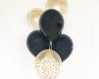 Black and Gold Confetti Latex Balloons~Graduation Balloons~Black and Gold Party~New Years Party Balloons~Retirement Party~Wedding Balloons