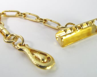 6 Vintage Gold-Plated Ribbon Chain Crimps Cl77
