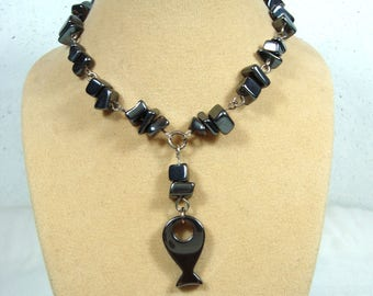 Haematite Fish Necklace