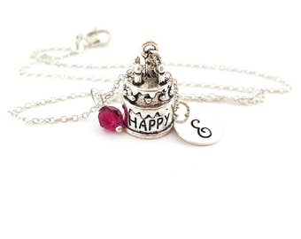 Happy Birthday Necklace - Cake Charm - Swarovski Crystal Birthstone Necklace - Personalized Initial Sterling Silver Jewelry - Gift for Her