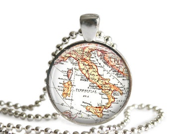 vintage Italy map pendant charm, Italian map Jewelry, Italy map necklace charms, available as money clips, key chains or ornaments, A187
