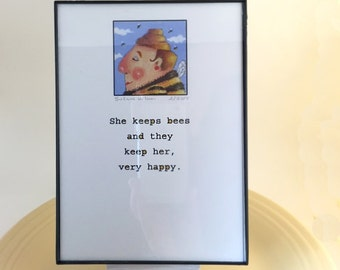 Whimsical Beekeeper Illustration, Framed Print