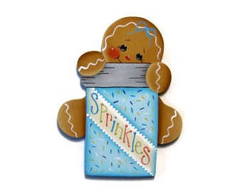 Ginger With Sprinkles Fridge Magnet or Ornament, Handpainted Wood Gingerbread Refrigerator Magnet, Hand Painted Ginger, Tole Painting