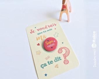 Card badge, badge super godmother, godmother, godmother gift