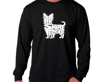 "Men's Long Sleeve T-shirt - Yorkie Created using the words ""Yorkshire Terrier"""