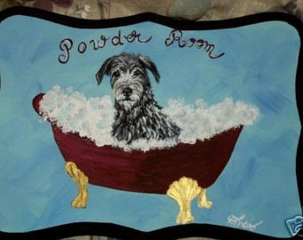 Irish Wolfhound Dog Custom Painted Powder Room Sign Plaque