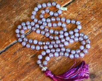 108 Japa Mala Beads Grey Agate Sterling Silver Mantra Prayer Meditation Necklace Yoga Jewelry Spiritual Gemstone Knotted Ayurvedic Rosary