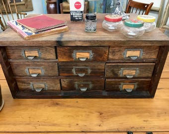 Antique Oak Cabinet, Pine,Galvanized Drawers,Mercantile Country Store Cabinet, Hardware Store Cabinet, Industrial, Watchmaker's