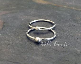 Silver Hoop Earrings, Sleeper Earring Round Catchless Hoops, Endless Hoops, Simple Minimalist Circle Earring womens gift, jewelry gift