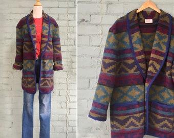 1980s blanket coat / 80s Navajo blanket coat / 1980s wool coat / 80s southwestern coat