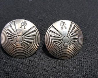 1 inches Native American Hopi Sterling Silver  Man In The Maze Earrings