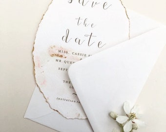 Wedding save the date card, blush and gold, hand painted invite, romantic weddings, deckled edge, luxury weddinf invitations