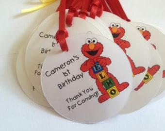Personalized ELMO Favor Tags  -  Elmo Tags   - Elmo Birthday