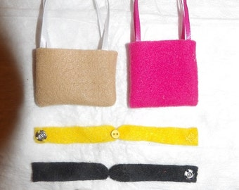 Accessory Set - 2 purses, 2 belts / headbands, 1 pair of shoes for Fashion Dolls - as7