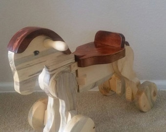 Wood Riding Horse. Perfect for Toddlers! Hand-crafted from Colorado Pine! Ready for Christmas from Santa's Workshop!