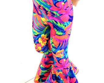 Kids Tahitian Floral UV Glow Bell Bottom Flared Rock Star Pants  Sizes 2T 3T 4T and 5-12   154131