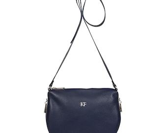 Leather Cross body Bag, Dark blue Leather Shoulder Bag, Women's Leather Crossbody Bag, Leather bag KF-492