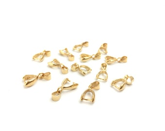 20 Gold Plated Brass Pinch Pendant Bails Holder, Necklace Connector, Jewelry Making, 8x16, RN