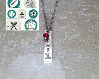 Field Hockey Necklace, Team Jewelry, Coach Gift, Custom Sport Necklace, Soccer Necklace, Softball Necklace, Team Gift,Volleyball Jewelry