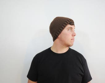 Brown Mens Crochet Hat. Mens Caramel Brown Beanie. Fitted Beanie Hat. Knit Brown Hat. Mens Fall Fashion. Winter Accessories. Mens Fitted Hat